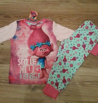 primark young girls Trolls pink pyjamas set NEW age from 2 to 7 SMILE HUG REPEAT