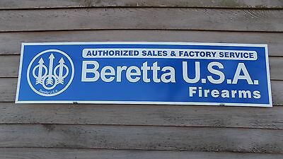 Current Style Beretta Firearms Dealer Sign/ad 1'x4' Alum. Panel W/eagle Logo