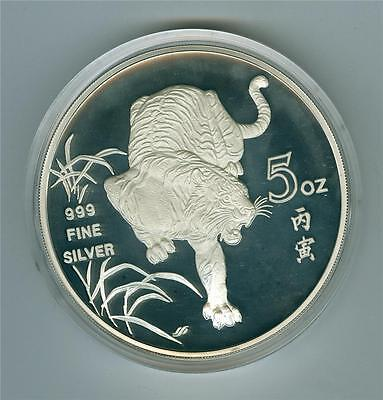 Singapore 1986 5 Oz. 999 Fine Silver Medal Year Of The Tiger Proof