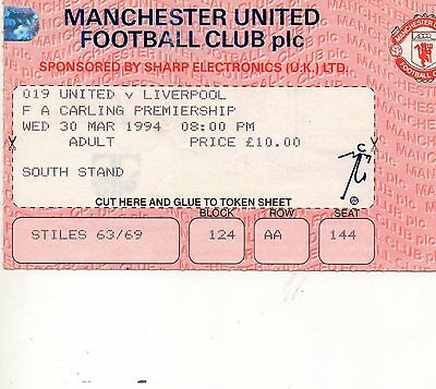 MANCHESTER UNITED v LIVERPOOL TICKET 1994