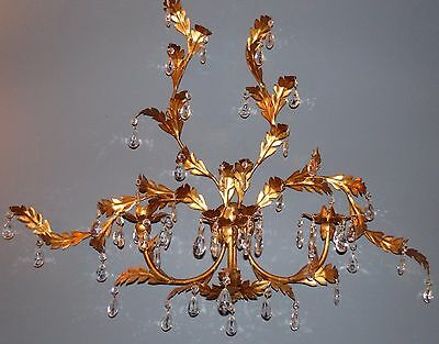 LARGE Vintage GOLD GILT Italian Tole WALL CANDLE HOLDER with Crystal Prisms