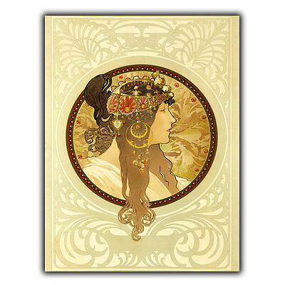 METAL SIGN PLAQUE Alfons Alphonse Mucha VINTAGE SHABBY CHIC FRENCH art decor
