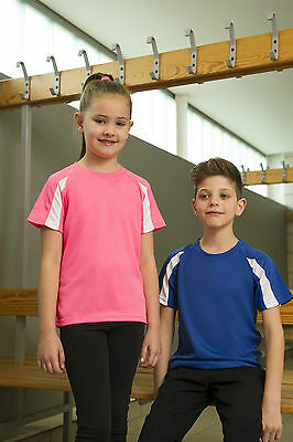 Kids Twin Color Performance Wickable Breathable Training Gym Running Tee (JC03B)