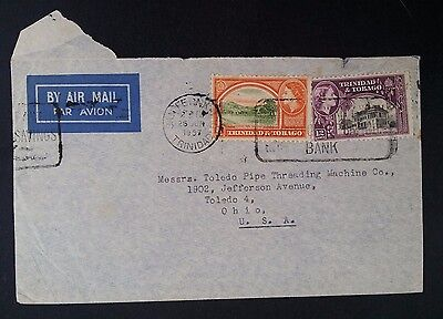 1957 Trinidad & Tobago Airmail Cover ties 2 stamps cancelled San Fernando