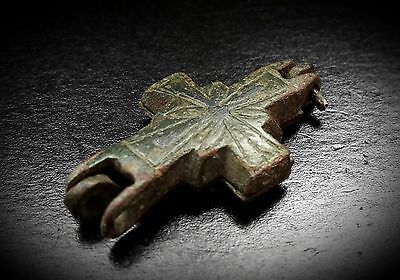 Rare Byzantine Reliquary Cross Pendant with Niello Inlaid Cross 10th-12th c A.D.