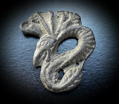 Bronze Plaque Amulet Featuring a Feathered Winged Serpent circa 2nd - 3rd A.D.