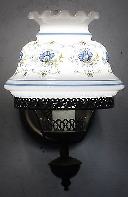 Vintage Wall Sconce White Blue Decorative Glass Shade Lamp Fixture