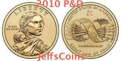 2010 P&D Sacagawea Great Law of Peace Native American Dollars 2 Coin Set PD