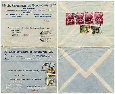 ANGOLA AUTOMOTIVE ADVERTISING ENVELOPES 2 ITEMS to GB AIRMAIL 1954