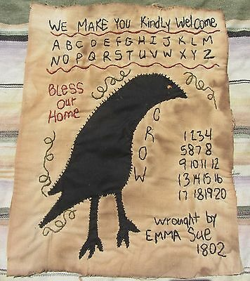 Rare Unusual Early Antique American 1802 Signed Sampler Emma Sue Folk Art Crow