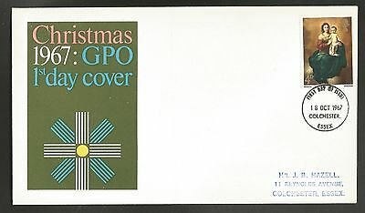 """GB stamps first day cover """"Christmas 1967"""""""