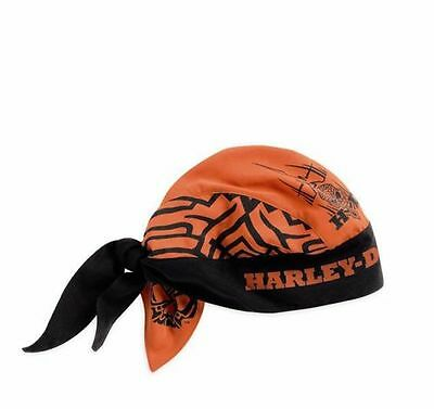 Harley-Davidson New Mens Tribal Skull Orange Headwrap 97681-15VM