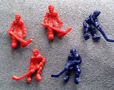 Lot of (5) 80s Hard Plastic Hockey player and Goaler Small Figure