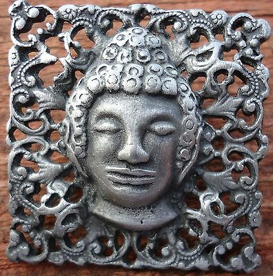 Antique Vintage Stamped Pewter Open Work Chinese Head Man  Ornate Edge Button