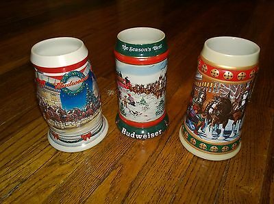 Vintage Budweiser Holiday Steins Lot of 3