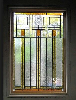 "Beautiful Stain glass window  22"" w x 38"" H  Frank L Wright style  WoW"