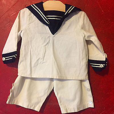 White Sailor Outfit for Boys, Two Piece Sailor Suit, Shirt and Shorts, Vintage