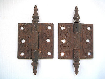 "2 Door Hinges 2 1/2 X 2 1/2"" steeple top pins old Victorian 1880's rustic"