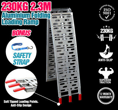 2.3M 230KG Aluminium Folding Loading Ramp Motorbike Motorcycle Scooter Trailer