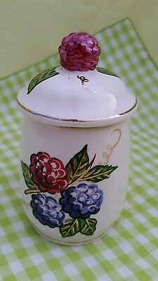 Vintage Knott's Berry Farm Porcelain Jelly Jar with Lid