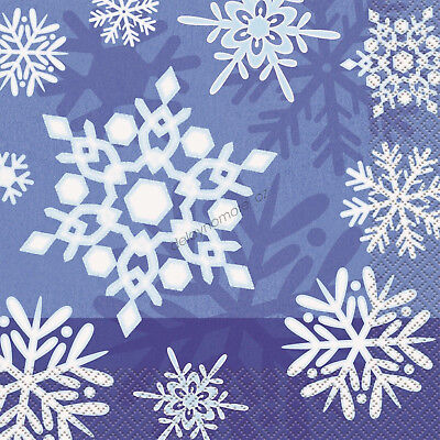 16 LUNCHEON Lunch Napkins Snowflake Blue Christmas Xmas Party Serviettes Frozen