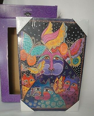 "Laurel Burch Glitter Canvas Art Felines and Flutterbyes Boxed 10"" x 15"" Cats"