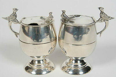 Sanborns Mexican Sterling Silver Pair Of Figural Bird Mustard Pots