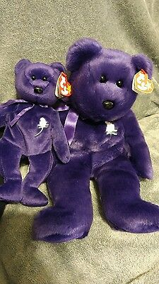 TWO Rare 1997 TY Princess Diana 1st Edition Beanie Baby Mint Condition Retired