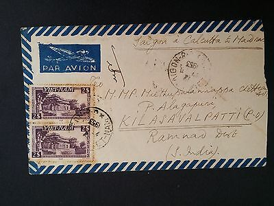 1953 South Vietnam Airmail Cover ties 2 stamps cancelled Saigon to India