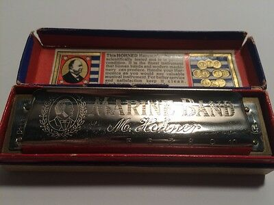Vintage PreWWII 1930s Hohner Marine Band Harmonica Key Of G With Star