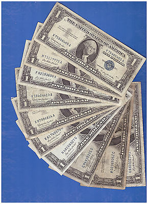 10 5-1957 & 5 1935 $1 DOLLAR BILLS Silver Certificate Blue Seal Notes LOT K470