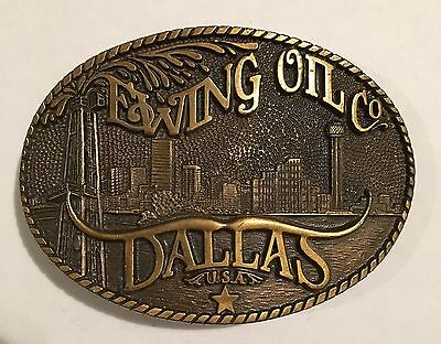 "Vintage ""EWING OIL CO. DALLAS"" Brass Belt Buckle"