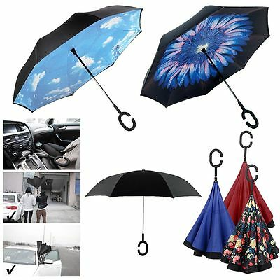 New C-Handle Double Layer Inside-Out/Upside Down/Reverse Umbrella Windproof