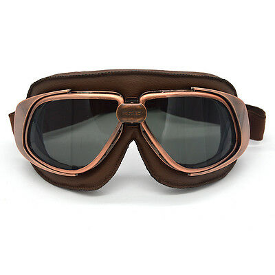 Helmet Goggles Motorcycle Goggle Cycling Vintage Pilot Biker Leather Goggles