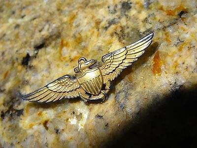 Wwii - Usn - Navy Pilot Wings Marked Sterling 1/20 10Kgf