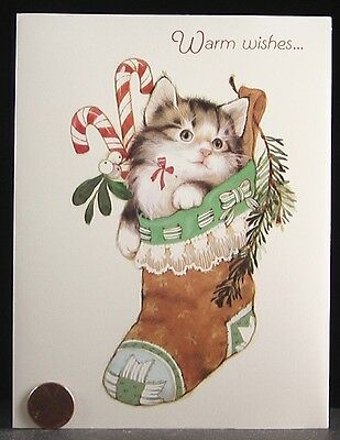 VINTAGE Christmas Adorable Tabby Kitten Cat Stocking Candy Carlton Card UNUSED