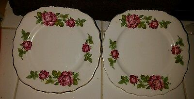 Royal Vale pink roses side plates x2