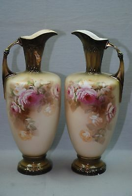 "Antique Pair Set Royal Wettina 13.75"" Large Ewer Pitcher Pink Roses 1 Repaired"