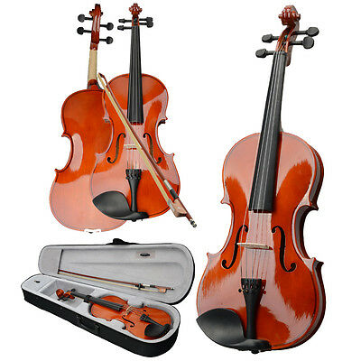 """New Wood 15"""" Student Adults Acoustic Viola + Case + Bow + Rosin for Beginner"""