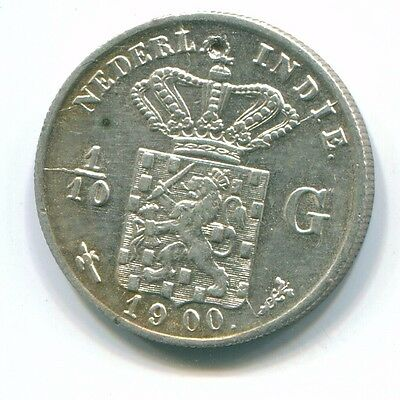 1900 Netherlands East Indies 1/10 Gulden Silver Colonial Coin Nl13207#3