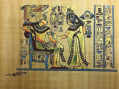 Egyptian Hand-painted Papyrus King Tut & Queen Scene from Golden Shrine 13 x 8""