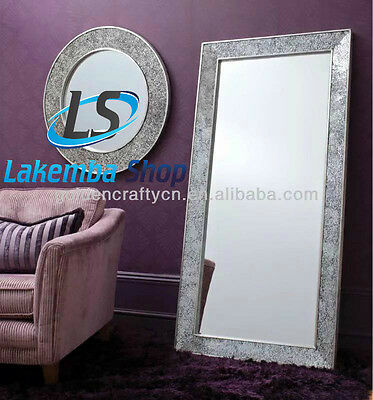 Crackle Mosaic Glass Silver Frame Wall Mirror Full Length 180X80cm