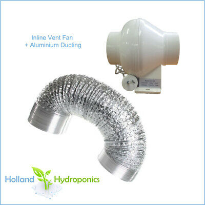 "4"" Ventilation Kit Inline Exhaust Fan Ducting Hydroponics Indoor Growing Tent"