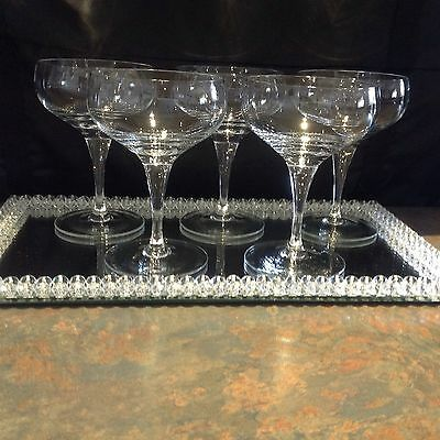 Reduced ~ Lovely Set Of 5 Crystal Champagne Glasses