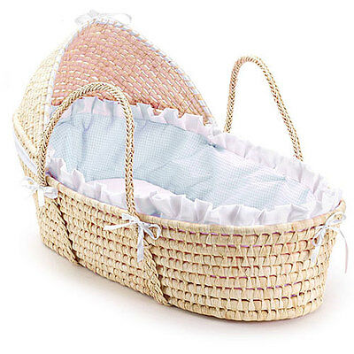 Natural Hooded Moses Basket With Blue Gingham Bedding  Baby Nursery Furniture