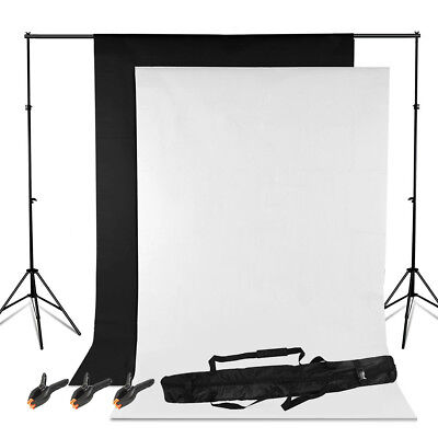 Background Stand Kit Set Photography Photo Studio Black White Backdrop 3 Clamps