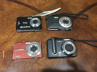 Lot Of 4 Digital Cameras Working For Parts Vivitar Kodak 12.2 8.1 Megapixels A1
