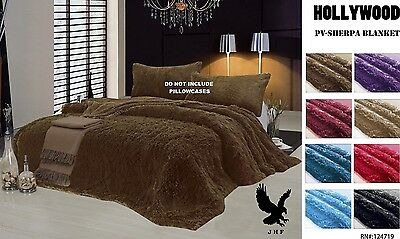 Hollywood Reversible Faux Fur Soft Bed Blanket All sizes 10 Colors! Plush