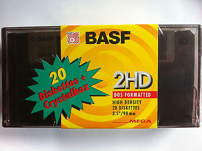 "COMMODORE AMIGA 500 ATARI BASF 20 Floppy Disk 3.5"" 2HD - 1.44mb Etichette e BOX"