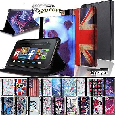 """For Amazon Kindle Fire 7"""" 8"""" 8.9"""" 10"""" Tablet - FOLIO LEATHER STAND CASE COVER"""